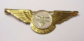 Vintage Continental Airlines Jr Hostess Gold Wings Pin Kinney