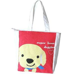 Super Lover Doggies Shoulder Tote Canvas Bag Red S1 Baby
