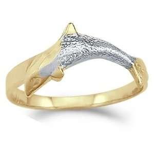 Animal Dolphin Fish Ring 14k Yellow White Gold Band, Size