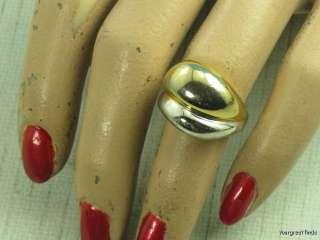 VINTAGE 925 STERLING SILVER & GOLD MODERNIST DOME RING