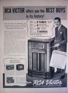 1939 RCA VICTOR RADIO MODEL K 80 & RCA VICTROLAS PRINT AD!