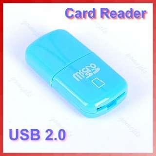 Mini USB 2.0 Micro SD Writer TF Memory Card Reader Blue