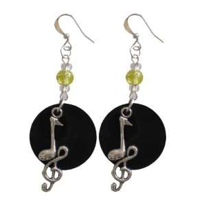 Charm Recycled Record Earrings (Treble Clef with Eighth Note) Jewelry