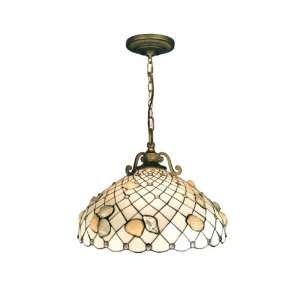 Dale Tiffany TH50007 Shell Pendant Light, Antique Brass and Art Glass