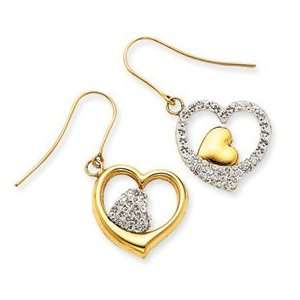 14k Yellow Gold Crystal Double Heart Dangle Wire Earrings Jewelry
