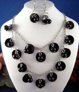 Shell Faux Pearl Drippy Necklace Earring Jewelry Set
