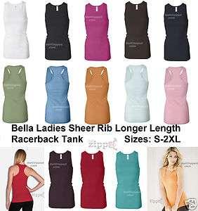 Bella Ladies Sheer Longer Length Racerback Tank Top T Shirt Womens