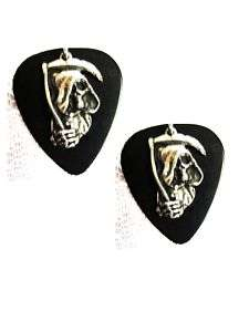 BLACK GUITAR PICK w/ GRIM REAPER DUDE CHARM EARRINGS