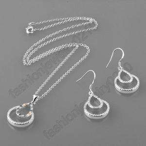 FASHION JEWELRY SILVER NECKLACE + EARRINGS SET QST037