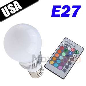E27 3W 16 Color Change Flash Remote Control LED Light Bulb for Party