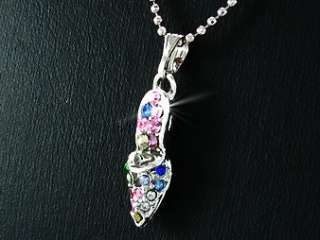 18ct White Gold Plated Multicolour pendant chain Girls Cinderella Gift