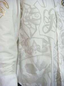 Rebel Spirit men cross rhinestones button shirt NWT
