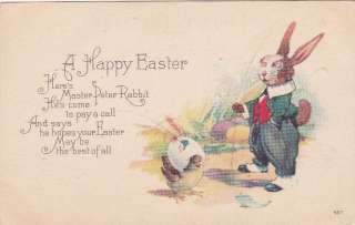 Pretty old Dressed Easter Bunny Egg Chick poem postcard