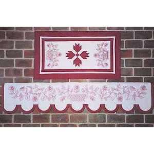 PT1888 Mantel Quilt & Table Runner Redwork Pattern by Robb
