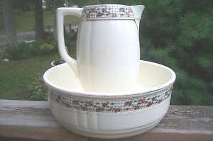 Antique Boch Fes La Louviere Belgium Pitcher & Bowl
