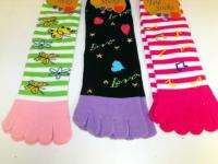 Toe Socks Pattern Bright Colors CUTE Socks 9 11 Ladies Teens