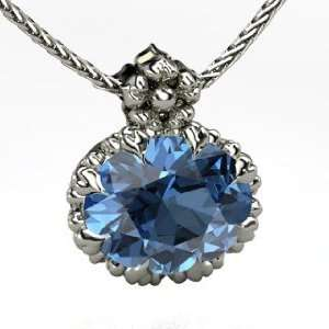 Rosette Pendant, Oval Blue Topaz 14K White Gold Necklace Jewelry