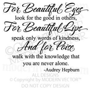 AUDREY HEPBURN Quote Vinyl Wall Quote Decal BEAUTIFUL
