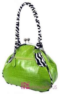 Green Rhinestone Zebra Flower Clutch Bag Purse Handbag