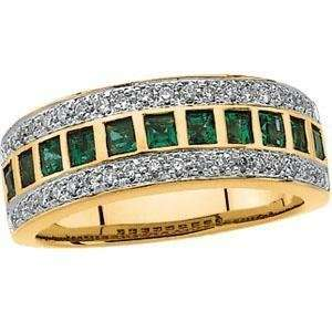 Gold Bridal Emerald & Diamond Anniversary Band Ring Size 6.5 Jewelry