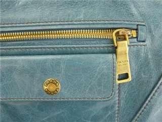 PRADA VITELLO SHINE TOTE BAG   BEAUTIFUL BLUE HANDBAG   NWT   SHOPPER