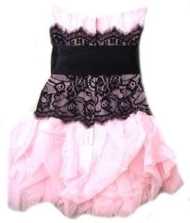 NWT Jessica McClintock Short Pink Netting Black Lace Dress Size 2