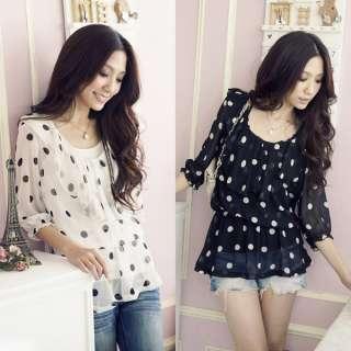 Chiffon WomenS Lady Polka Dot Lotus Shirt Bloues 3/4 Sleeve Blouses