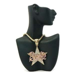 MINAJ BARBIE Star Pendant w/Franco Chain Gold/Pink MP602 Jewelry