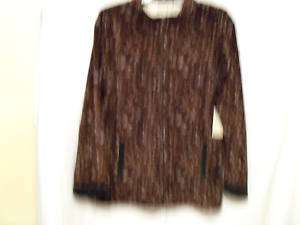 CORAL BAY PLUS VELOUR BROWN ANIMAL PRINT JACKET BRN  2X
