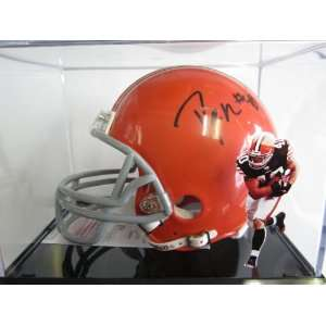 Peyton Hillis Cleveland Browns Signed Autographed Mini Helmet and Case