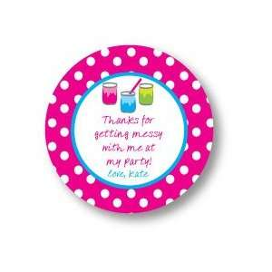 Polka Dot Pear Design   Round Stickers (Paint Fest   523r