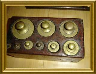 Antique Apothecary Pharmacy Balance Scale Brass Weights