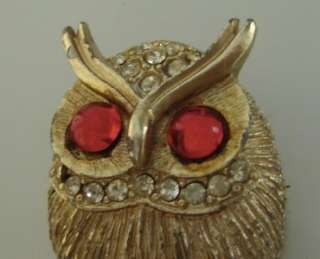 Gold toned Owl Brooch w/ Red Glass Eyes and Clear Rhinestones