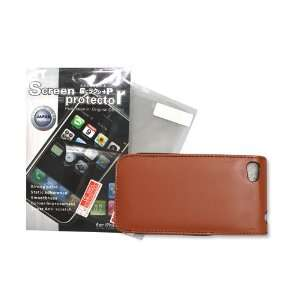 Leather Case Cover Skin Brown+ Screen Protector Iphone 4g