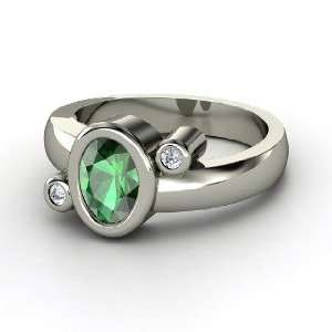 Planets Ring, Oval Emerald Sterling Silver Ring with