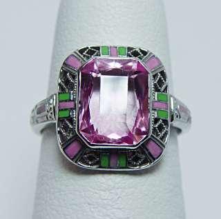Antique Pink Stone Enamel Filigree Ring 14K White Gold Estate Jewelry