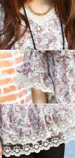 yrfashion Korean Women Fashion Floral V Neck Bell Sleeve Dual Lace