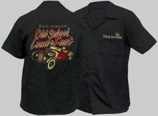 MENS HOT ROD WORKSHIRT WORK SHIRT LOUD FAST SKULL ROCKABILLY HOTROD