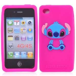 Cute Stitch Silicone Case for iPhone 4S/iPhone 4(Hot Pink