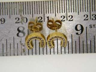 14K Horse Shoe Earrings Yellow Gold Earrings with Diamonds