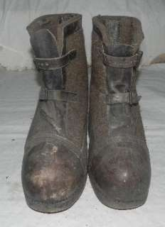 GERMAN WWII ARMY FELT & LEATHER WINTER OVER BOOTS