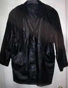 JACQUELINE FERRAR BLACK LEATHER JACKET COAT WOMENS SZ L LARGE