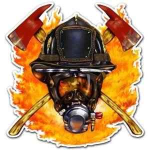US Fire Department Firefighter Mask Trucks Sticker 4x4