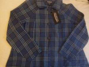 NEW ladies JACKET coat FLANNEL large 12 14 BLUE casual