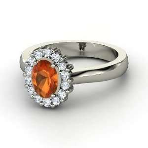 Princess Kate Ring, Oval Fire Opal Palladium Ring with