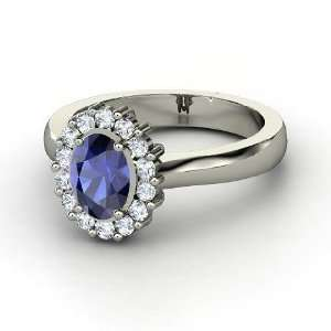 Princess Kate Ring, Oval Sapphire Sterling Silver Ring