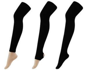 Fleece lined thermal Footless, Full Footed, Stirrup TIGHTS BLACK S/M