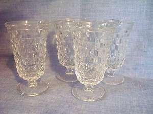 FOSTORIA GLASS CRYSTAL AMERICAN PATTERN 4 3/8 WINE GOBLET LOT OF 4