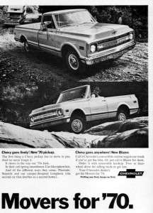 1970 Chevy C 10 Pickup Truck & Blazer Movers Original Ad