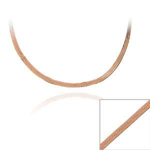 Rose Gold over Silver 24 inch Herringbone Chain Necklace Jewelry